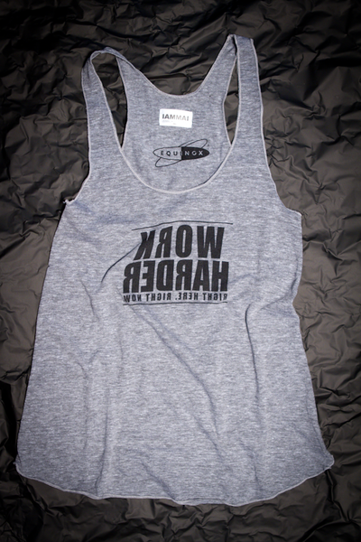 "IAMMAI Womens Racer Tank ""Work Harder Right Here. Right Now."""