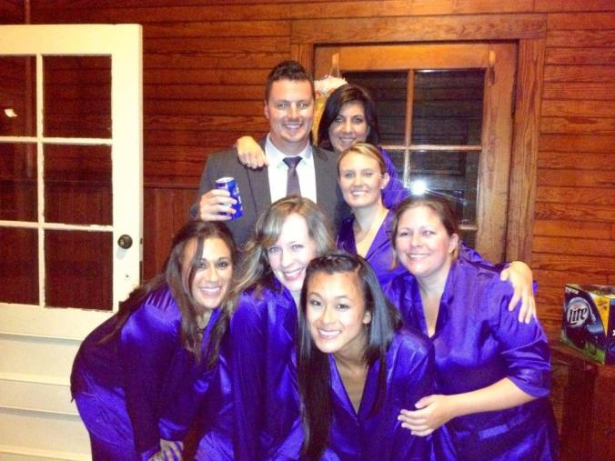 Ahh I love this pic. These are my bridesmaids in their VS satin PJs. Love it!