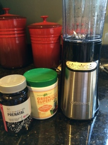 Vitamins, Green Super Food mix by Amazing Grass, and my compact Cuisinart blender