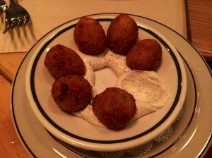 Fried olives all in a row