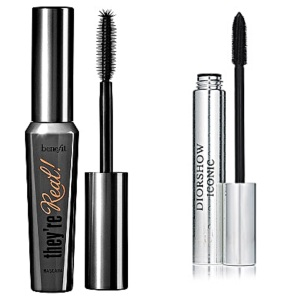 """Two great mascaras for creating thick lashes - also anti-run, which is a must! Benefits """"they're real"""" and Dior Show Iconic - both in black"""