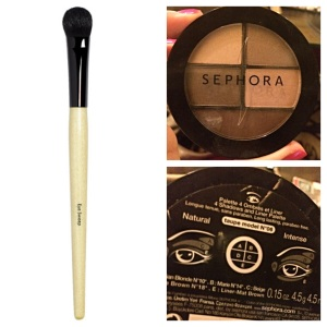 Bobbi Brown eye sweep shadow brush and Sephora brand eyeshadow palette