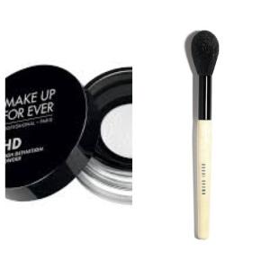 Make Up Forever HD finishing powder - swept on ever so lightly with Bobbi Brown's sheer powder brush