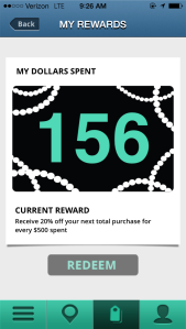 I earned 156 points yesterday for shopping. Once I've spent $500, I get 20% off my next purchase